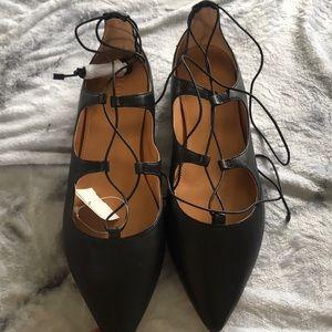 J crew tie up black leather shoes